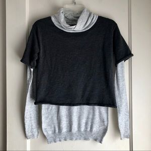 Neiman Marcus Two Toned Grey Layered Sweater